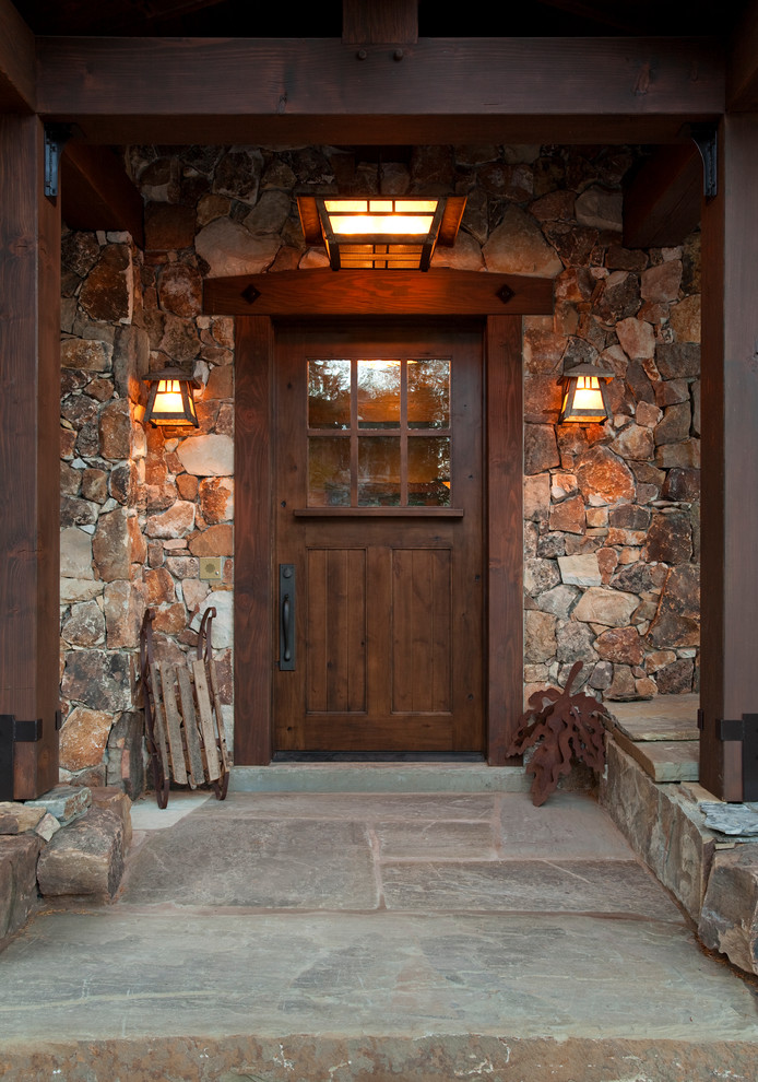 raw rustic entryway hardwood rustic colonial front door with glass panels stones exterior walls stones flooring system rustic style wall sconces