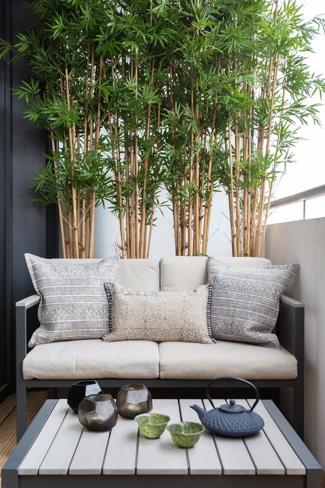 small modern balcony idea decorative bamboos modern furniture set with accent pillows