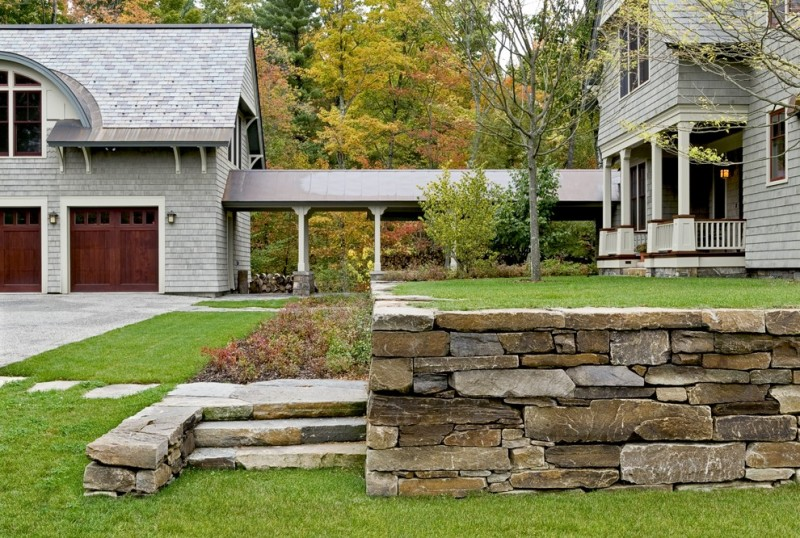 stone fencing idea for victorian style landscape