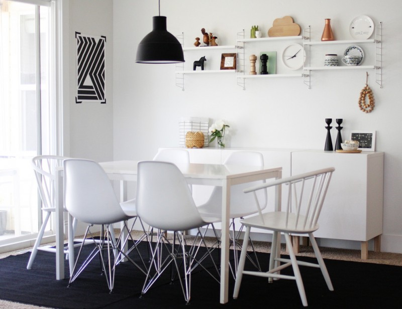 all white mid century modern dining furniture black carpeting idea black industrial style pendant open shelves in white