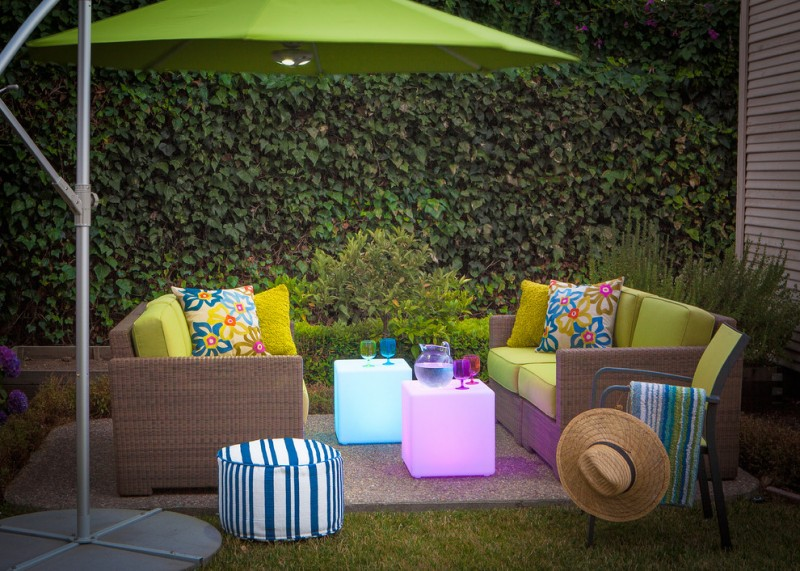bungalow radiant center tables strip woven side table outdoor sofa with multicolored throw pillows