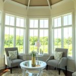 Classic Sunroom With Cornered Windows Cornered Chairs A Central Round Top Table With Glass Surface Traditional Area Rug