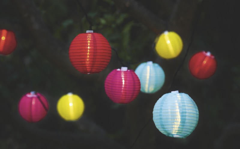 colorful lanterns powered by LED bulb inside