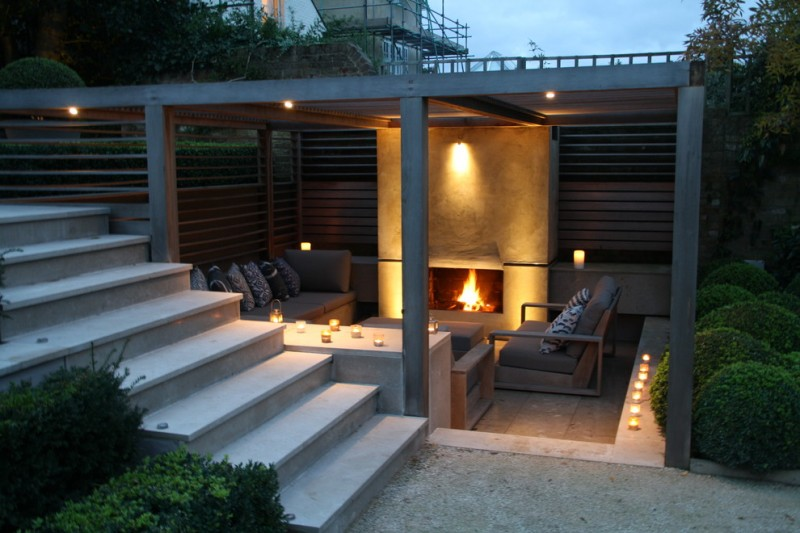 contemporary exterior idea fireplace garden wall sconce small sized bulb ceiling light fixtures some candle lights modern patio furniture