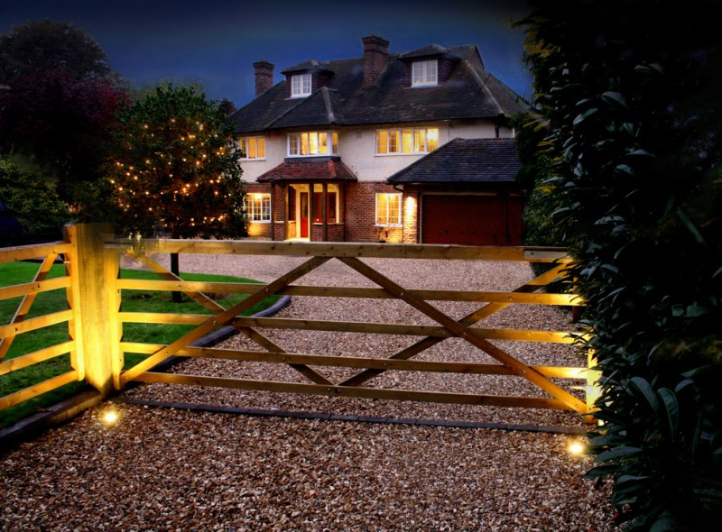 farmhouse landscape idea a pair of recessed lamps for gate simple wood gate