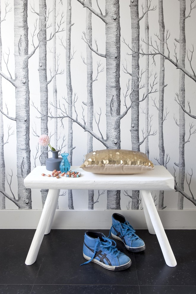 mid century modern bench in white tree wallpaper background black tiles floors