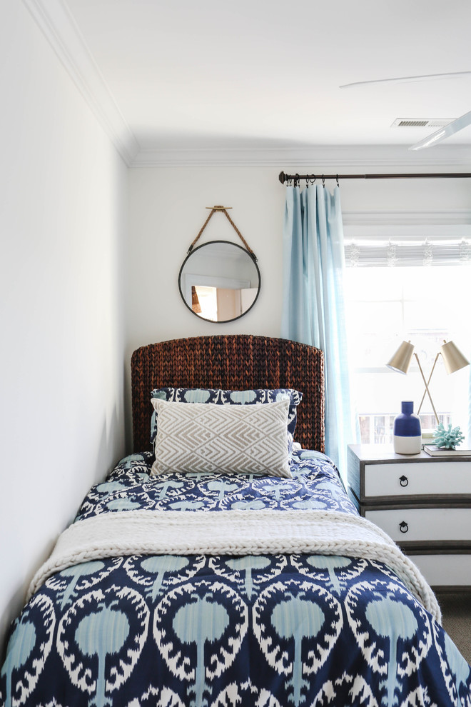 midcentury bed frame for twins with wood woven headboard blue navy and oyster prints bedding treatmen hanging mirror midcentury modern dressers