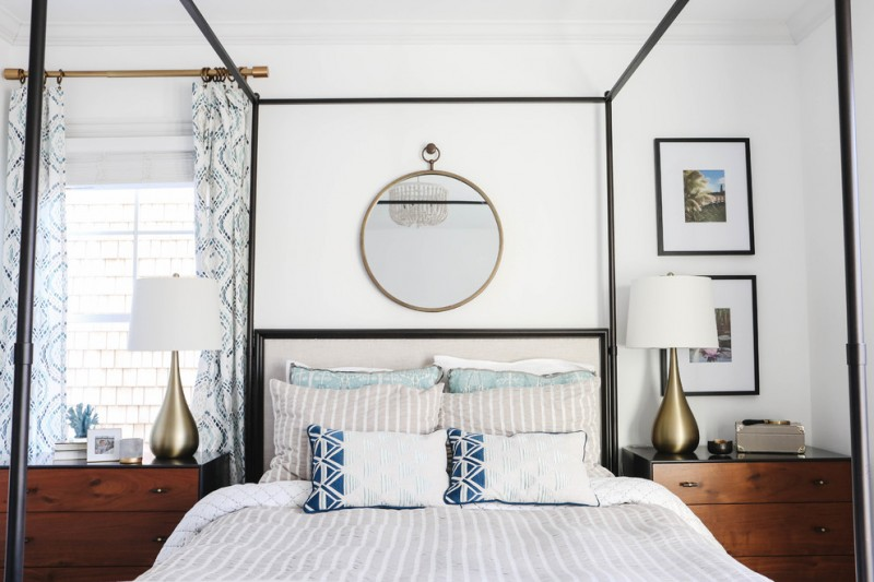 midcentury bed frame with canopy mirror brass in round shape black frame bedside tables and dressers decorative table lamps with white shade