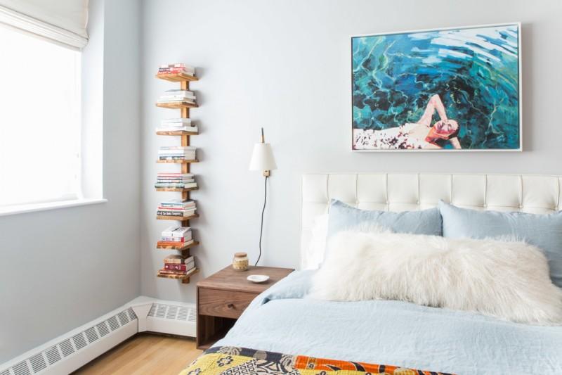 midcentury modern bedroom wood vertical bookshelf dark toned wood bedside table