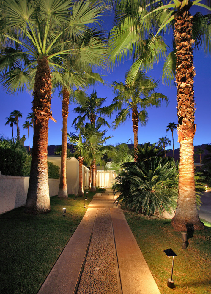 midcentury modern landscape concrete pathway modern garden lighting fixtures concrete fencing system