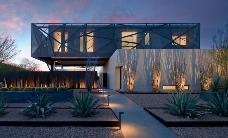 modern minimalist landscaping idea grey exterior concrete pathway modern lighting idea
