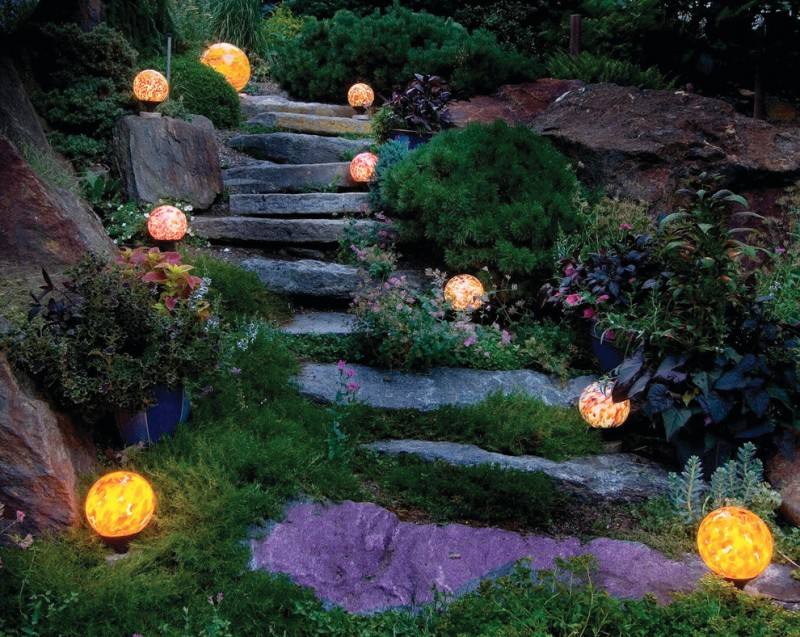 rustic landscape idea natural stone steps with lighting ball fixtures