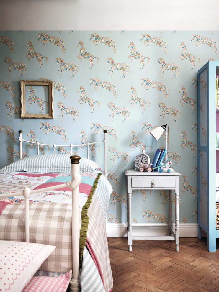 shabby chic kids' bedroom vintage style bedroom furniture set pony wallpapers wood laminated floors