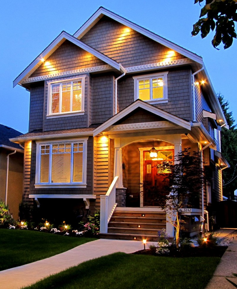 traditional exterior idea with random hidden lighting fixtures