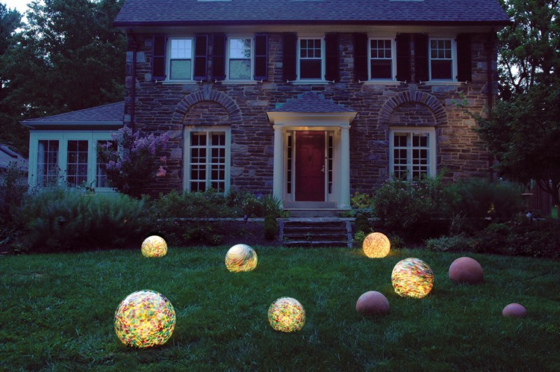 traditional landscaping idea ball lighting fixtures with colorful motifs traditional exterior idea with concrete steps
