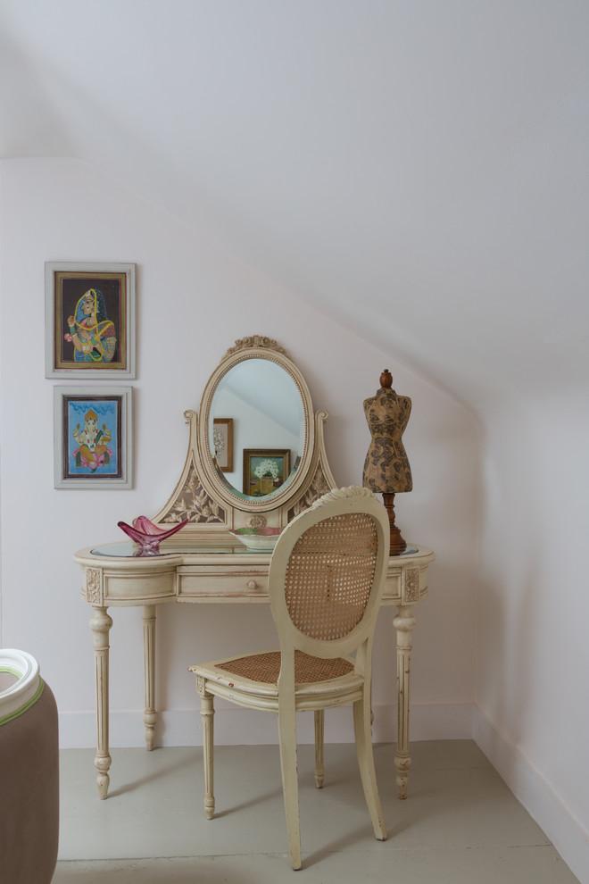 vintage style vanity furniture in shabby white