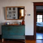 Cool Shabby Hall Console Table In Blue Wood Framed Mirror In Square Shape