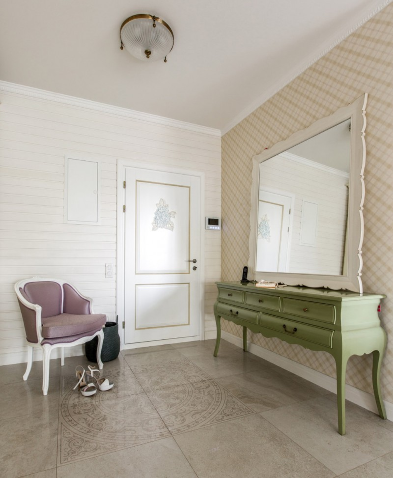 cool shabby hallway green hall console table in vintage vintage style chair in purple large mirror with white frame beige tiles floors vintage look wallpaper in cream