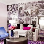 Eclectic Living Room Pop Colored Living Room Furniture Set Large Sized Pop Style Pictures On Wall