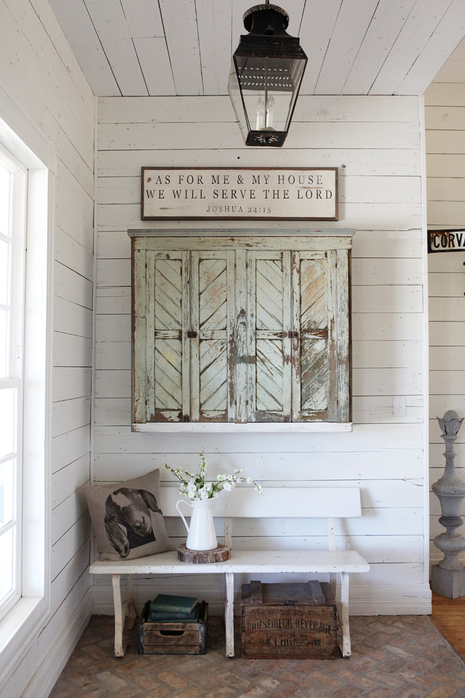 farmhouse entryway idea shabby window shutters traditional pendant white hall bench white wood siding walls