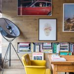 Industrial Working Nook Hardwood Wall Without Finishing Some Pop Arts Wood Working Desk Yellow Working Chair Recessed Book Shelves Tripod Stand Floor Lamp