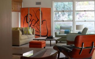 mid century modern living room idea orange room partitions with artistically abstract line