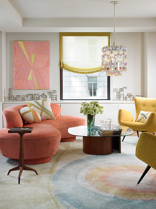 modern living room trendy sofa with unique shape and color incredible throw pillows cool shabby area rug glass top center table yellow chairs red abstract painting artistic pendant