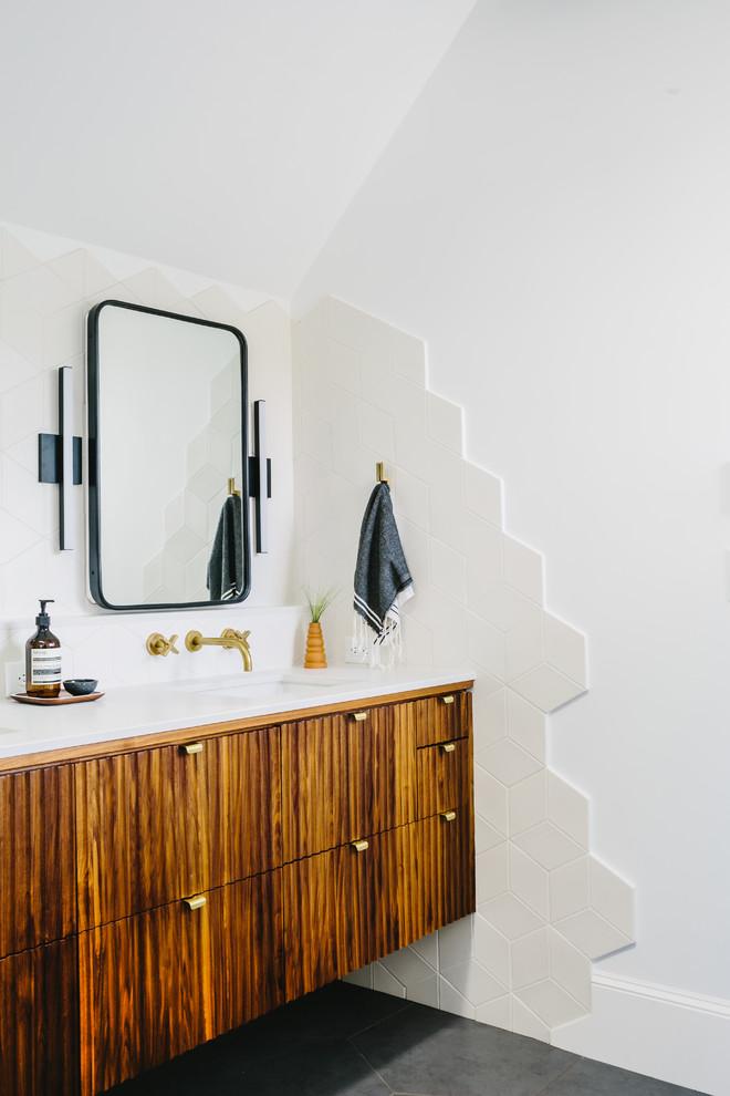 scandinavian bathroom textured walls in white floating & textured panel bathroom vanity with marble countertop black framed mirror