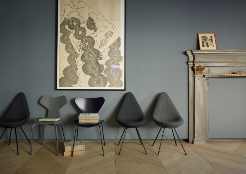 scandinavian entryway modern black chairs bold grey wall oversize wall art wood floors