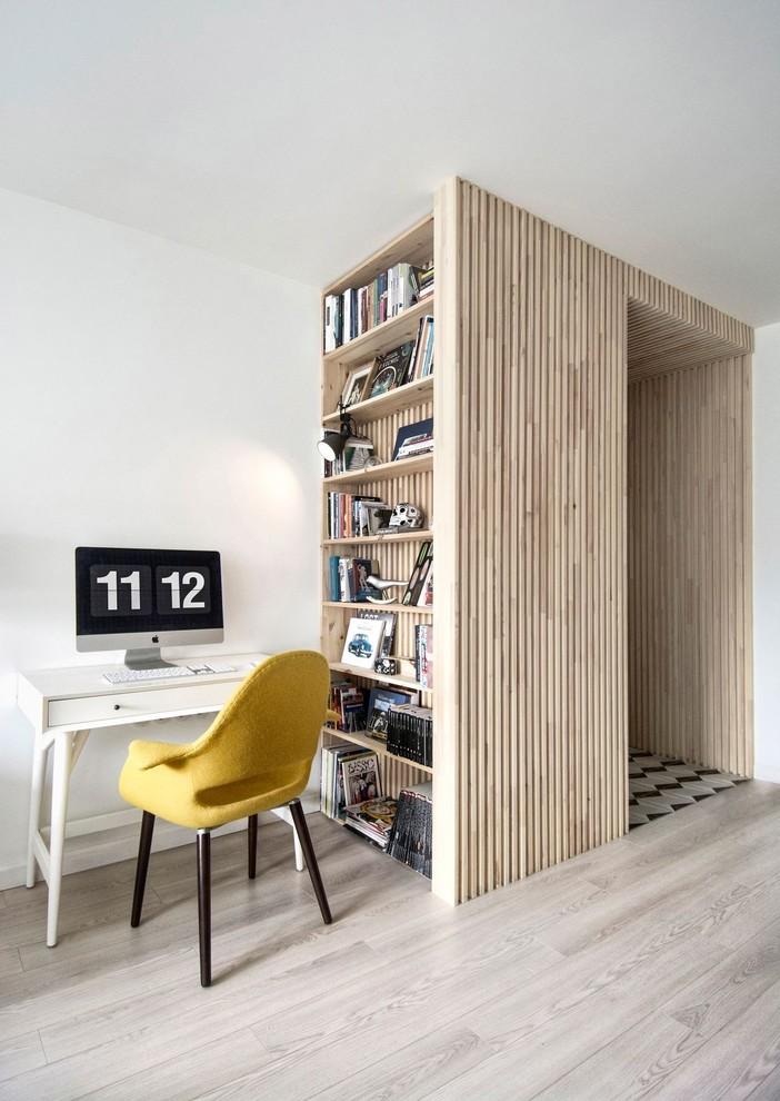 scandinavian entryway textured & light wood vertical book rack yellow plastic chair with dark wood legs smaller white computer table light grey wood floors