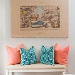 Small Vintage Style Bench With Colorful Throw Pillows Antique Linen Canvas Darker Wood Floors
