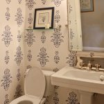 Traditional Bathroom Idea Classic Floral Wallpaper In White And Navy Blue White Pedestal Sink White Hexagon Tiled Floors White Toilet