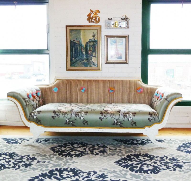 vintage style Empire sofa with floral motifs
