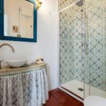 Vintage Style Bathroom In Small Size Vintage Style Shower's Tiles Walls Vintage Vanity With White Lace Skirt Blue Framed Mirror Glass Door Walk In Shower