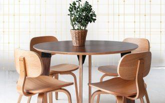 yellow lined vintage wallpaper idea mid century modern wood dining furniture set