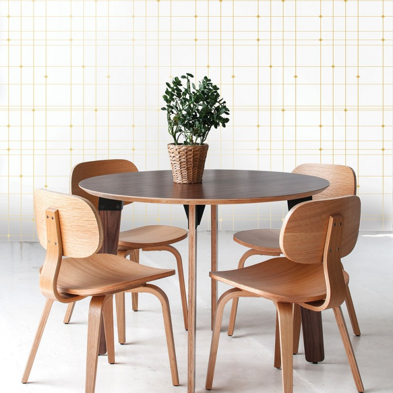 yellow lined vintage wallpaper idea mid century modern wood dining furniture set
