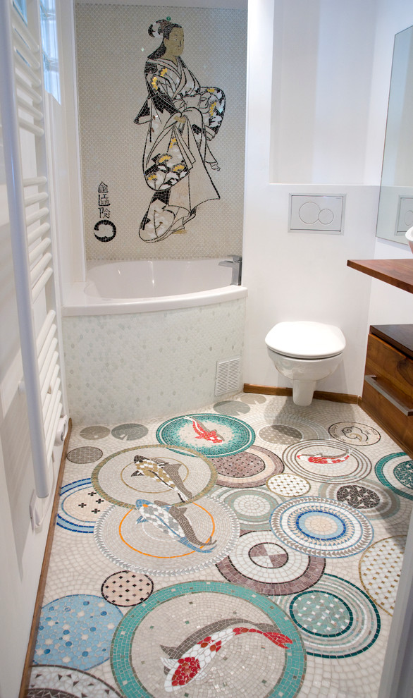 Asian bathroom idea built in corner bathtub with Japanese women grafiti wall mounted toilet colorful tiles floors with fortune fish pictures