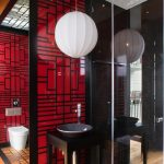 Asian Style Bathroom Red China Door Panel Big Lantern Pendant High Legs Bathroom Vanity With Ceramic Vessel Mounted Toilet