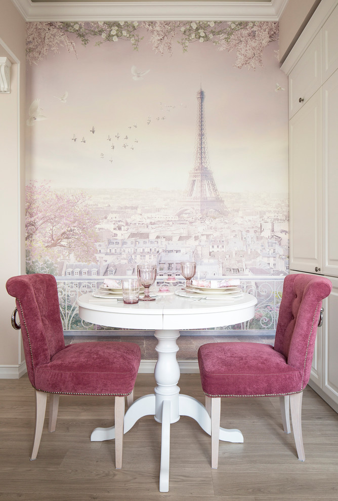 French Style Dining Room Eiffel Tower Graphic Background Wall Accented By  Light Pink Ornate Flowers White