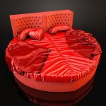anti mainstream heart shaped bed frame in red with red tufted headboard glossy red bed linen and pillows