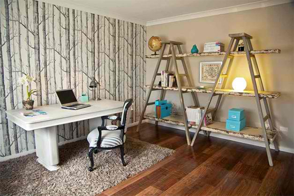 bamboo wallpaper ladder shelves medium toned wood floors white working desk traditional working chair
