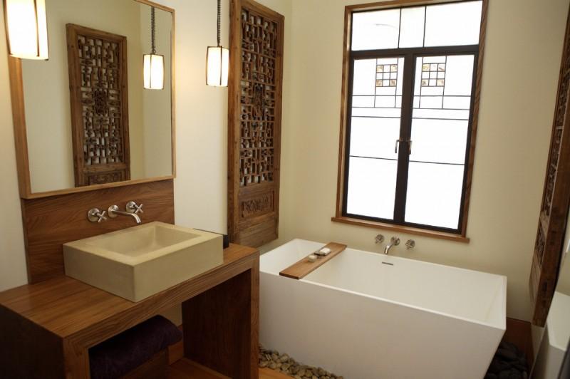 contemporary bathroom design modern white bathtub decorative antique Chinese door panel wood framed vanity mirror clean lined sink wooden bathroom vanity