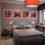 contemporary bedroom idea in dominant grey creative automative about wall decors grey comforter grey bed linen X base bedside table with red round top grey rug large pendant with red lampshade