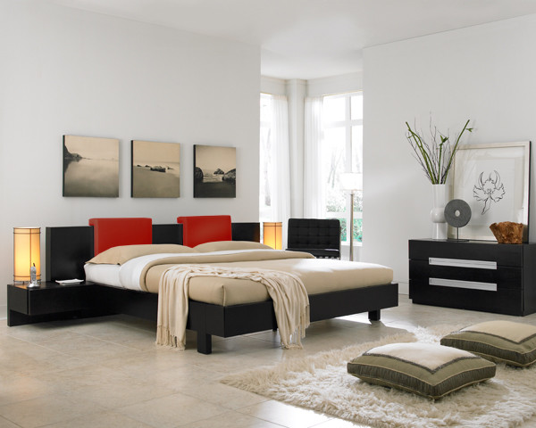 contemporary bedroom with minimalist art decors contemporary bed frame with integrated headboard and bedside tables white shug rug asian inspired table lamps