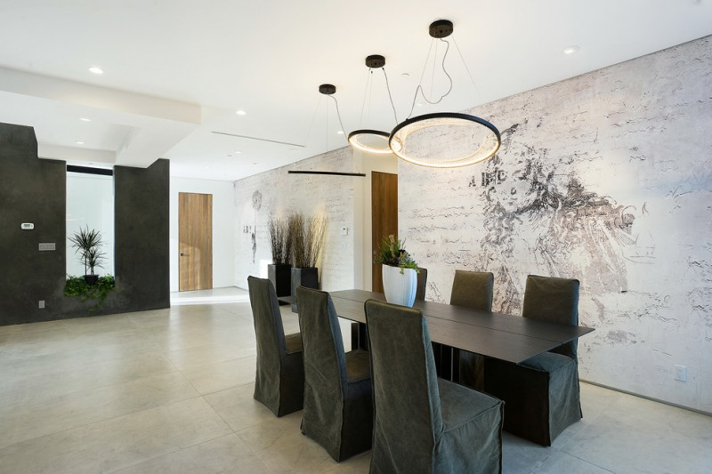 Contemporary Dining Room Black Dining Chair Slipcovers Black Finishing Dining  Table Whitewashed Brick Wall With Creative