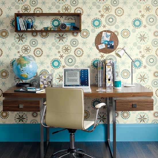 contemporary small home office zingy colorful office wallpaper modern wooden working desk modern working chair in beige