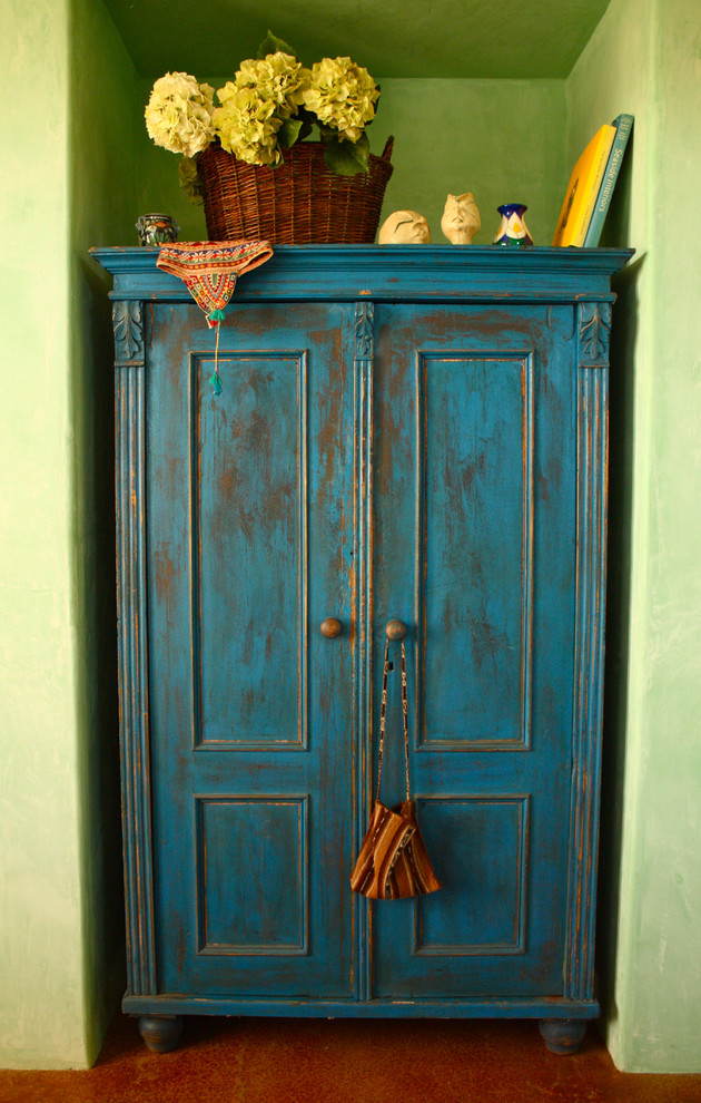 cool shabby armoire in blue