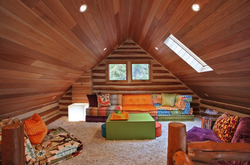 eclectic family room multicolored low furniture set green low table fluffy white area rug slanted wood ceilings