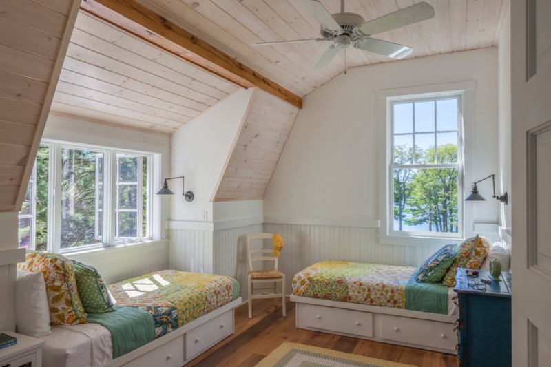 farmhouse twin bed frames with side drawers in white reclaimed wood floors whitewashed wood siding walls
