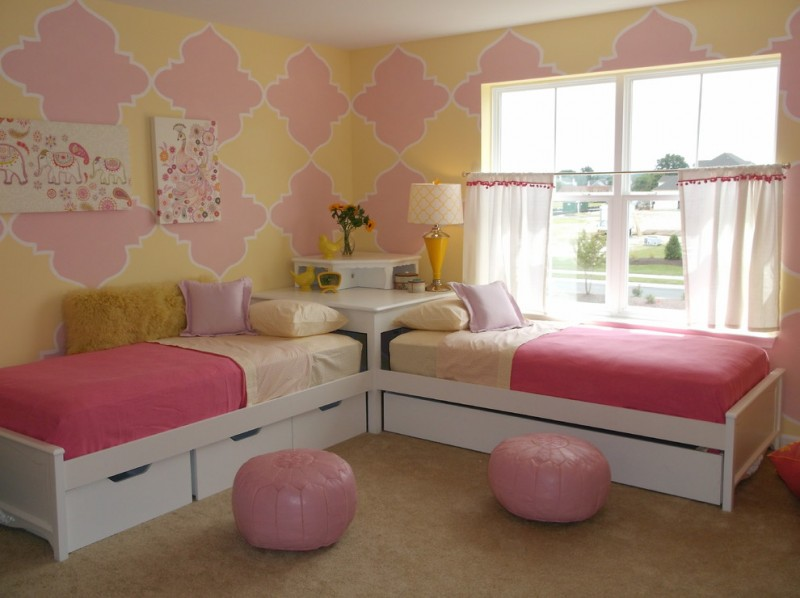feminine twin beds with side & under storage pink beanbags yellow pink hand murals on wall corner block in white